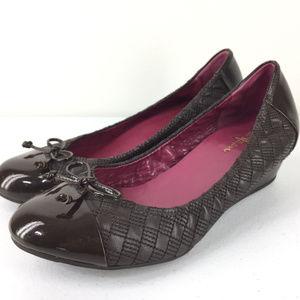 Cole Haan 9 Brown Patent Leather Wedge Heel